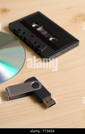 Analog Cassette, USB Drive and Compact Disk used for Recording Music - Stock Photo