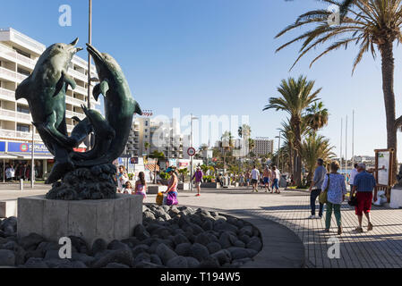 Dolphin statue at Tenerife, Spain - Stock Photo