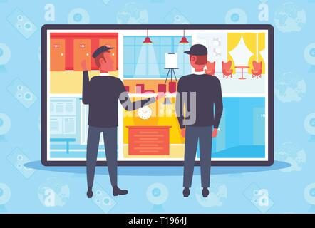 two security guards looking monitor screen men in uniform standing together monitoring cctv cameras control surveillance room full length flat - Stock Photo