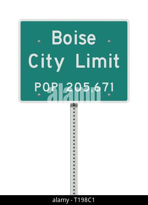 Vector illustration of the Boise City Limit green road sign - Stock Photo