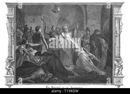 ancient world, Roman Empire, persecution of Christians, 'A raid in the catacombs', wood engraving, 'Roma, The Monuments of the Christian and Pagan Rome', by Dr. Albert Kuhn, 1878, Artist's Copyright has not to be cleared - Stock Photo