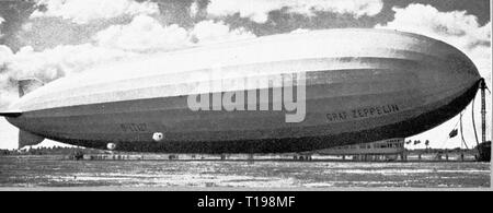 transport / transportation, aviation, airship, zeppelin LZ 127 'Graf Zeppelin', at the mooring mast in Pernambuco, Recife, Brazil, 21.5.1930, Additional-Rights-Clearance-Info-Not-Available - Stock Photo