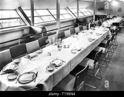 transport / transportation, aviation, airship, zeppelin LZ 129 'Hindenburg', interior view, dining hall, 1936, Additional-Rights-Clearance-Info-Not-Available - Stock Photo