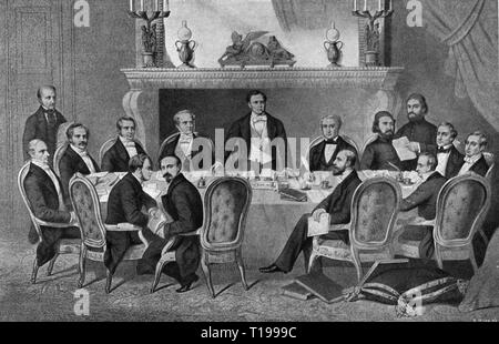 Crimean War 1853 - 1856, Paris congress, 25.2. - 30.3.1856, delegate, from the left: Philipp Count von Brunnow, Vincent Count Benedetti, Prince Aleksey Orlov, Henry Wellesley Earl Cowley, Camillo Count of Cavour, Salvatore Pes di Villamarina, George Villiers Earl of Claredon, Alexandre Count Colonna-Walewski, Francois-Adolphe Baron de Bourqueney, Count Maximilian von Hatzfeld, Mehmed Cemil Bey, Mehmed Emin Ali Pasha, Otto Theodor von Manteuffel, Alexander von Huebner, Karl Ferdinand von Buol-Schauenstein, print,volume 10, 1896 - 1898, Eastern War, Additional-Rights-Clearance-Info-Not-Available - Stock Photo
