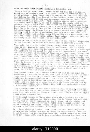 Second World War / WWII, Russia, Battle of Stalingrad, 23.8.1942 - 2.2.1943, report of major Erich Thiel, Commanding Officer of III Group, Fighter Wing 27 'Boelcke', about the condition of the airfield Gumrak and the consultation with Field Marshal General Friedrich Paulus, general commanding 6th Army, to Field Marshal Erhard Milch, Inspector General of the Luftwaffe (German Air Force), command post Stalino, 21.1.1943, copy, page 3, dispatch, despatch, dispatches, despatches, encirclement, German Luftwaffe (German Air Force), Wehrmacht, armed for, Additional-Rights-Clearance-Info-Not-Available - Stock Photo