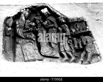 religion, Christianity, Three Kings, 'Adoration of the Magi', relief, circa 1400, Artist's Copyright has not to be cleared - Stock Photo