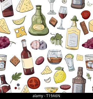 Seamless pattern with alcohol bottles and drinks - Stock Photo
