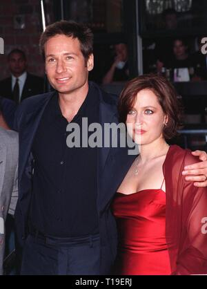 LOS ANGELES, CA - September 8, 2011:  Actor DAVID DUCHOVNY & actress GILLIAN ANDERSON at the world premiere, in Los Angeles, of their movie 'The X-Files.' - Stock Photo