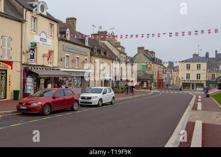 General view of Sainte-Mère-Église, Lower Normandy, Manche, France - Stock Photo