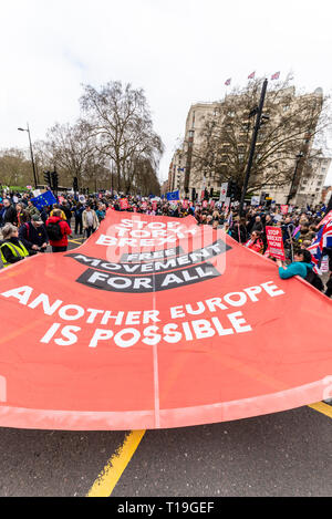 Put it to the People march, London. A huge protest march in London in support of having a final Brexit deal being put to the people to vote or revoke - Stock Photo