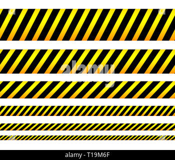 Repeatable yellow tapes, bands, strips. Vector, editable. (Can be repeated horizontally) - Stock Photo