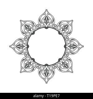 Flower Circular Ethnic Ornament Vector Symbol Graphic Logo Design Template - Stock Photo