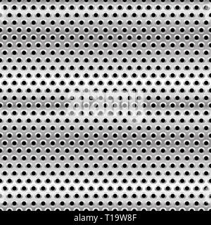 Eps 10 Vector Illustration of Perforated Metal Background. Punched Metal with Circles. - Stock Photo