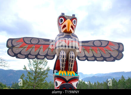 View of an aboriginal eagle totem pole at the summit of the Malahat mountain in Vancouver Island, BC, Canada - Stock Photo
