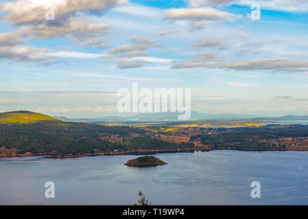 View of the Saanich inlet and gulf islands from the Malahat summit in Vancouver Island, BC, Canada - Stock Photo