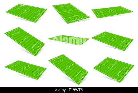 3D Soccer fields - Soccer fields in different angles - Stock Photo