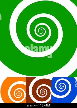 Spiral backgrounds. set of 4 colors. green, orange, red and blue. vector illustration. - Stock Photo