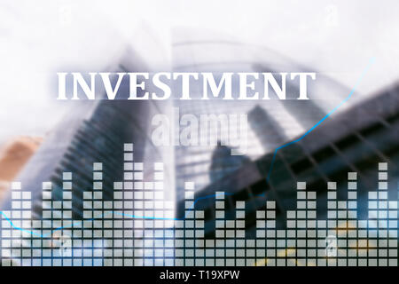 Investment, ROI financial market concept city background - Stock Photo