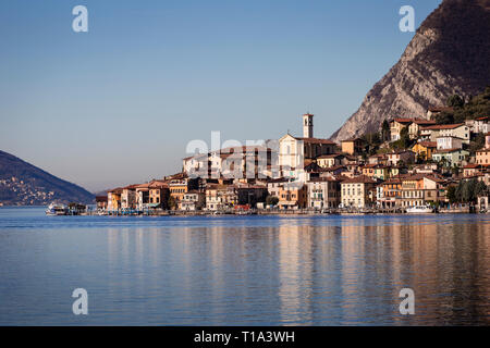 The town of Peschiera Maraglio on Monte Isola island, Lake Iseo, Lombardy, Italy - Stock Photo