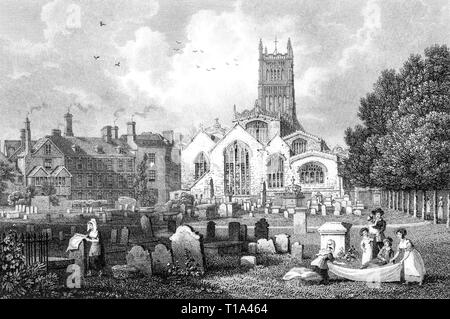 An engraving of Cirencester Church, Gloucestershire UK scanned at high resolution from a book published in 1825. Believed copyright free. - Stock Photo
