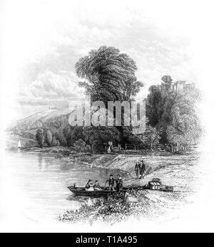 An engraving of Goodrich Castle and Ferry on the banks of the River Wye, Herefordshire UK scanned at high resolution from a book published in 1841. - Stock Photo