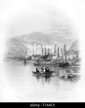 An engraving of Tintern Abbey on the banks of the River Wye, Monmouthshire, Wales UK scanned at high resolution from a book published in 1841. - Stock Photo