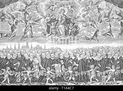 events, Thirty Years' war 1618 - 1648, 42 Munich hostages of king Gustav Adolf of Sweden and their votive picture for the church St. Mary, Ramersdorf, wood engraving, 19th century, Artist's Copyright has not to be cleared - Stock Photo