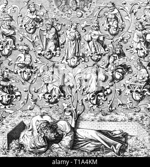 religion, Christianity, allegory, Tree of Jesse, adapted from miniature from breviary, 15th century, wood engraving, 19th century, Additional-Rights-Clearance-Info-Not-Available - Stock Photo