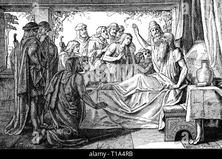 religion, biblical scene, Jacob blessing his sons, wood engraving, by C. Schoenherr, 19th century, Artist's Copyright has not to be cleared