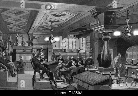 geography / travel, Germany, North Rhine-Westphalia,Düsseldorf, building, clubhouse of the artist association Malkasten, built 1864 - 1867, interior view, bowling alley, based on drawing by Themistokles von Eckenbrecher (1842 - 1921), wood engraving, from: 'Die Gartenlaube', Leipzig, 1885, Artist's Copyright has not to be cleared - Stock Photo