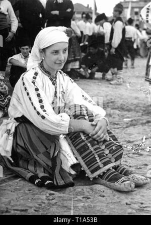 geography / travel historic, Bulgaria, folklore, Bulgarian woman in national costume, circa 1935, Additional-Rights-Clearance-Info-Not-Available - Stock Photo