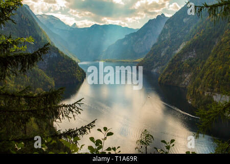 view from Malerwinkel near Schoenau over lake Koenigssee king´s lake at Berchtesgaden national park - Stock Photo