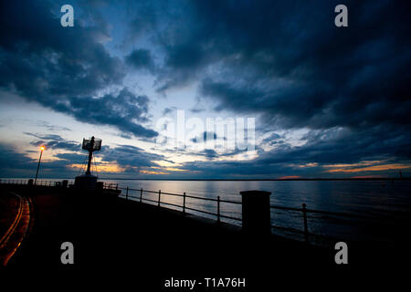 Egypt,Point,Light,house,disused,silhouette,The Solent,Cowes, Isle of Wight,England,UK, - Stock Photo