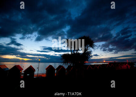 storm,dramatic,sunset,over,sea,tropical,gale,palm,trees,beach,huts,the Solent,Gurnard, Isle of Wight, England, UK, - Stock Photo