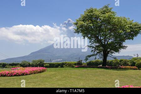 Active Vulcan Sakurajima covered by green Landscape. Taken from the wonderful Sengan-en Garden. Located in Kagoshima, Kyushu, South of Japan. - Stock Photo