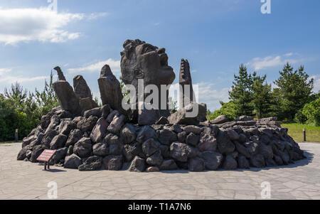 Detail view the Music Monument Akamizu Tembo Hiroba of Tsuyoshi Nagabuchi build from Lava. Vulcan Sakurajima Observation Point in Kagoshima, Japan - Stock Photo
