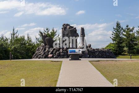 Music Monument Akamizu Tembo Hiroba of Tsuyoshi Nagabuchi build from Lava. Near Vulcan Sakurajima Observation Point in Kagoshima, Kyushu, Japan. - Stock Photo