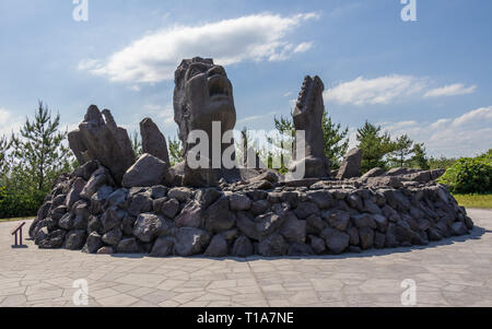 Music Monument Akamizu Tembo Hiroba of Tsuyoshi Nagabuchi build from Lava. Near the Vulcan Sakurajima Observation Point. Kagoshima, Kyushu, Japan - Stock Photo