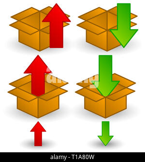 Box clip-art with arrows. Download, upload or packaging icons. - Stock Photo