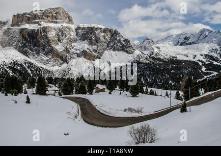 The Sella Pass is a high mountain pass between the provinces of Trentino and South Tyrol in Italy. - Stock Photo