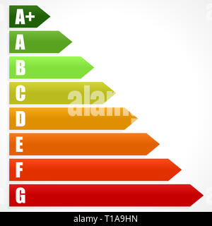 Energy Rating Certificate, Energy Performance Certificates. Energy efficiency, energy consumption rating for houses, homes, buildings - Stock Photo