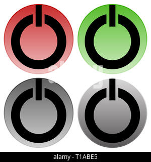 Power buttons vector. Power switches, turn on, turn off, shut down, ignite buttons. - Stock Photo