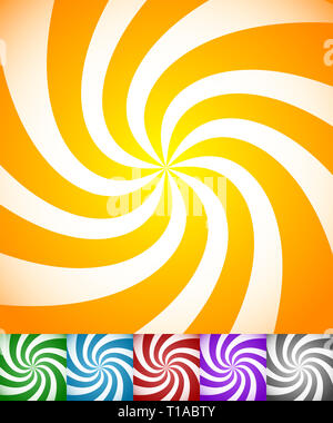 Colorful background set with swirling, rotating, twirling stripes, lines. Bright orange, green, blue, red, purple colors and a grayscale version. - Stock Photo