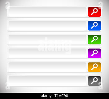 Search bars, buttons with magnifier glass symbols - Stock Photo