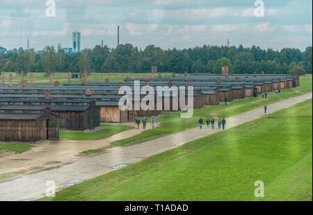 Oswiencim, Poland - September 21, 2019: Birkenau concentration camp. Death barracks. Jewish extermination camp history. - Stock Photo