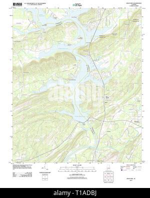 USGS TOPO Map Alabama AL Ohatchee 20120110 TM - Stock Photo