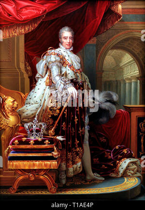 Portrait of King Charles X of France in his coronation robes. Charles X (1757 - 1836), King of France, after Gerard. Henry Bone, 1829 - Stock Photo
