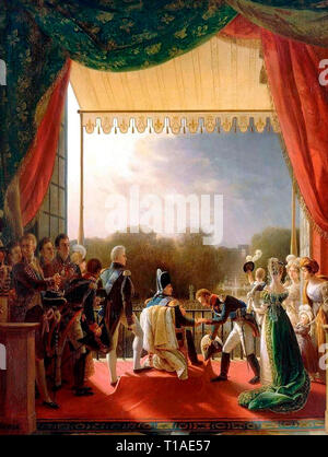 Portrait of Louis XVIII of France receiving Louis Antoine, Duke of Angoulême, on December 2, 1823, on a balcony of the Tuileries Palace after his successful military campaign in Spain. Louis Ducis - Stock Photo