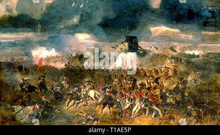 Oil painting - Battle of Waterloo. 18th of June 1815 - Stock Photo