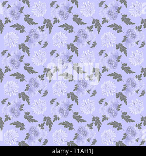 Vintage floral seamless pattern. Chrysanthemum Flowers background. Beautiful floral seamless texture with white chrysanthemums and green leaves on lil - Stock Photo